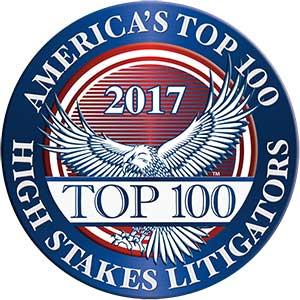 America's Top 100 High Stakes Litigators 2017® Recipient Award