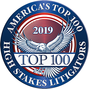 America's Top 100 									High Stakes Litigators 2019� Recipient Award